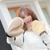 手套 防水加絨保暖包全指加厚連指掛脖甜美可愛韓版 Ifashion
