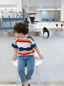 兒童男T恤 男童短袖T恤潮寶寶夏裝半袖上衣洋氣兒童夏季彩條打底衫韓版 寶貝計書