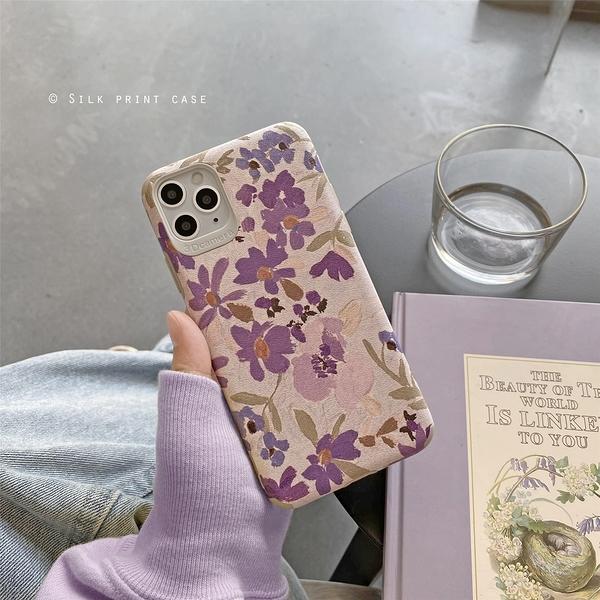 紫色花叢蘋果手機殼iphone12/11Promax/Xr/78Plus/Xsmax防摔保護套