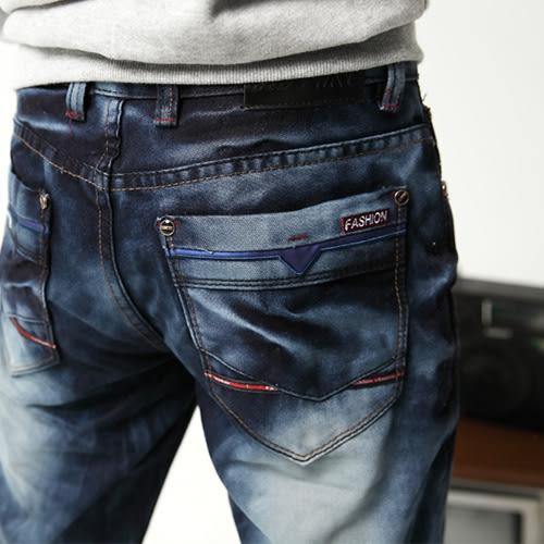 高磅數街頭潮流滾邊水洗牛仔褲
