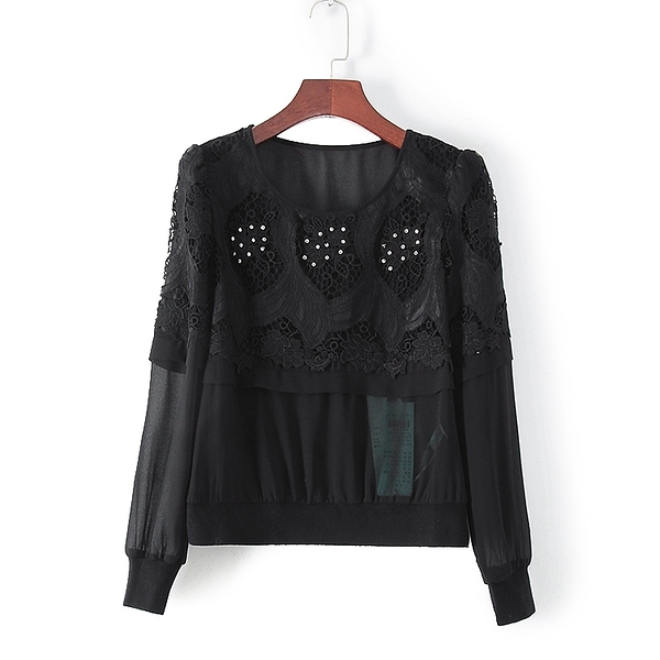 [超豐國際]村春秋裝女裝黑色蕾絲亮鉆小性感T恤 32968(1入)