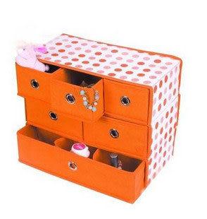 【收納存儲】嘉居 橙色 圓點 家居抽屜組合收納1.2公斤