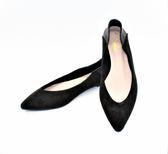 GLAZE 麂皮絨拼接皮革尖頭平底包鞋3色『黑色下標區』
