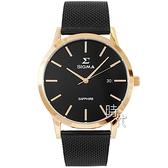 【台南 時代鐘錶 SIGMA】簡約時尚 藍寶石鏡面 日期顯示 米蘭錶帶男錶 1737M-BR 黑 41mm