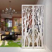 發財樹屏風摺屏影視牆背景玄關時尚白色雕花摺疊屏風櫥窗擺設