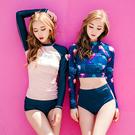 粉色插間 藍色花長袖防曬罩衫+泳褲 兩件式 泳裝 比基尼 泳衣 橘魔法 現貨 防寒衣 水母衣 防磨衣