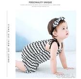 夏季女寶寶短袖連體衣初生嬰兒吊帶哈衣爬服純棉薄款新生兒衣服 布衣潮人