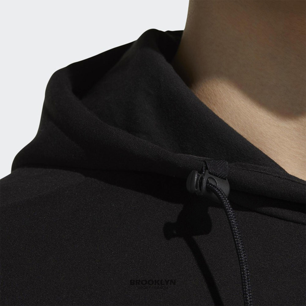 ADIDAS 帽T 基本款 黑 小LOGO 硬挺版 休閒 男 (布魯克林) GF4021