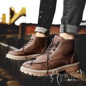 马丁靴  皮鞋 馬丁靴男潮百搭短靴秋季休閑鞋時尚男靴子中高幫男士英倫風工裝鞋
