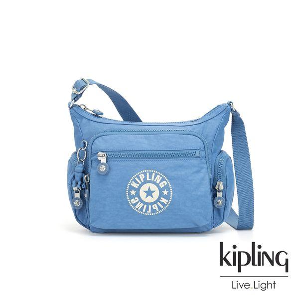 Kipling 致敬經典復古天藍色多袋實用側背包-GABBIE S