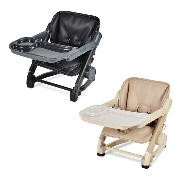 英國 unilove Feed Me攜帶式寶寶餐椅 - 椅身+皮革墊-珍珠奶茶色系(奶茶/黑)【佳兒園婦幼館】