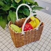 編織籃手工塑料編織筐時尚購物籃野餐水果收納框小寵物藍洗澡手提菜籃子雙12狂歡