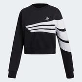 adidas 上衣 Originals Sweatshirt 女款 短版 長袖 大學服 大學T 三條線 黑白 黑 白【PUMP306】 DU9601