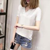 韓版V領短袖T恤夏季寬鬆百搭打底衫簡約純色上衣65/35棉 東京衣秀