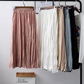 雪紡裙(長裙)-純色高腰褶皺A字女裙子5色73xg11【時尚巴黎】