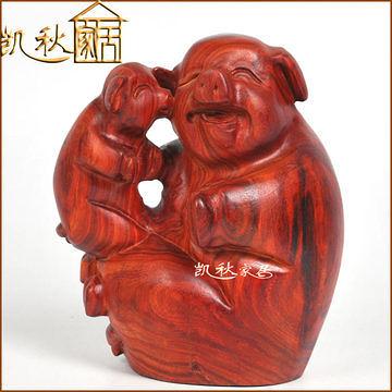 紅檀木雕擺件 生肖豬 母子豬