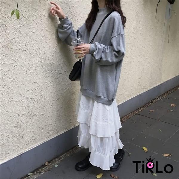 連身裙-Tirlo-自留款雪紡拼接衛衣連身裙-兩色(現+追加預計5-7工作天出貨)