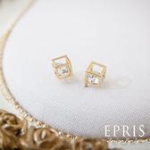 氣質系耳環 方塊迷宮(耳環)貼耳耳環 飾品品牌 純銀耳環