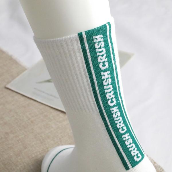 【正韓直送】 韓國襪子 腳跟直條雙色CRUSH中筒襪 英文字 韓妞必備 男襪女襪 哈囉喬伊 A133
