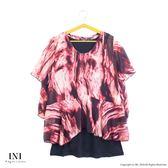 【INI】透氣輕盈、特殊拼接雪紡假兩件上衣.紅色