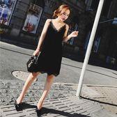 秋裝新款時尚性感氣質V領無袖蕾絲拼接絲絨中長款吊帶連衣裙 滿899元八九折爆殺
