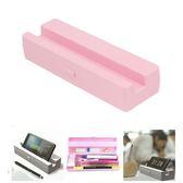 Hamee 日本製 創意設計 鉛筆盒 手機架 手機座 文具收納 辦公小物 塑膠盒 擺飾禮物 (粉色) UA54122