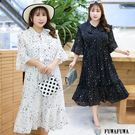 (現貨+預購FUWAFUWA)-加大尺碼星星雪紡短袖洋裝