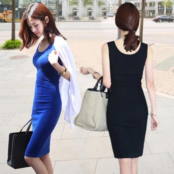 黑色吊帶衫背心女夏季中長款打底內搭連身裙百搭白色韓版長裙外穿