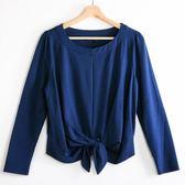 【MASTINA】腰際綁帶設計上衣-藍    秋裝限定嚴選