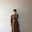 Qmigirl 韓國赫本風 純色收腰 長款連衣裙【T2258】