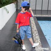童裝男童夏裝套裝新款夏季兒童中大童短袖男孩帥氣兩件套潮衣  Cocoa