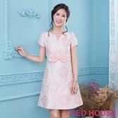 Red House 蕾赫斯-鏤空小V蝴蝶結緹花洋裝(粉色)