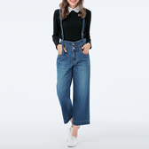 Victoria純棉雙層腰可拆吊帶寬褲-女-中藍-S.M.L.XL