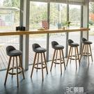 實木酒吧椅旋轉高腳凳家用吧台椅歐式吧椅前台高腳椅時尚吧椅HM 3C優購