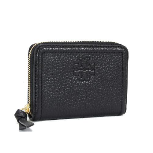TORY BURCH THEA 經典十字荔枝皮革拉鍊零錢鑰匙包(黑色)