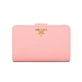 PRADA SAFFIANO 防刮皮革金屬字母釦式中夾(粉色)
