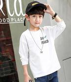 童裝男童白色T恤兒童春秋打底衫男孩長袖體恤衫