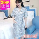 短袖連身睡衣 藍 小白花一件式綁帶睡裙 日系簡約休閒居家服 仙仙小舖