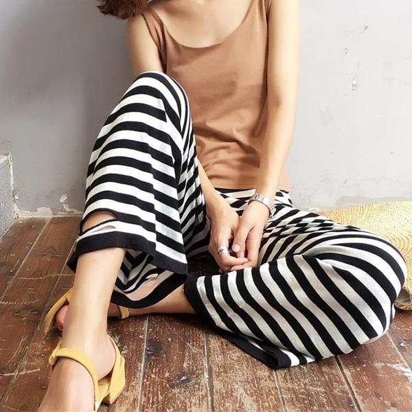 [超豐國際]夏季女裝學生時尚百搭條紋破洞闊腿褲女高腰顯瘦九分1入