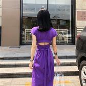 夏季新款chic長裙后背鏤空露背腰部綁帶收腰修身短袖連身裙 洋裝 女 【快速出貨】