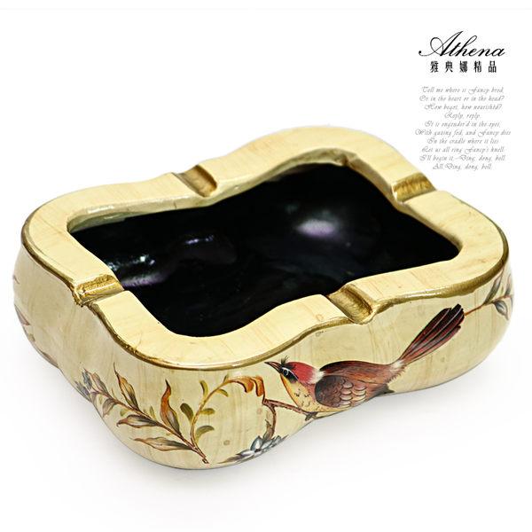 【雅典娜家飾】仿木紋花鳥陶瓷煙灰缸-EC28