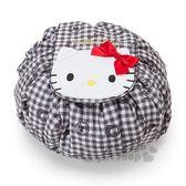 〔小禮堂〕Hello Kitty 尼龍圓筒束口化妝包《黑白.大臉》收納包.空氣包.縮口袋 4901610-80199