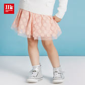 JJLKIDS 女童 可愛圓點點網紗短裙(藕粉)