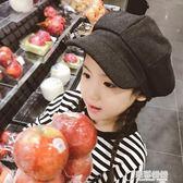 韓版男童女童兒童鴨舌帽畫家帽子大童毛呢八角報童復古貝雷帽保暖 草莓妞妞