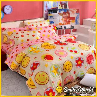 【Smiley】《快樂糕點》長纖絲光精梳棉雙人床包兩用被四件組 (草莓粉)