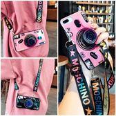 OPPO R9 Plus 斜跨掛繩復古相機 手機殼 藍光保護殼 可以背的 全包軟殼 防摔保護套 支架 R9+