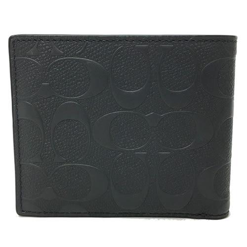 【COACH】專櫃新款CC LGO 壓紋全皮革 8卡對折輕便短夾附活動證件夾(黑)