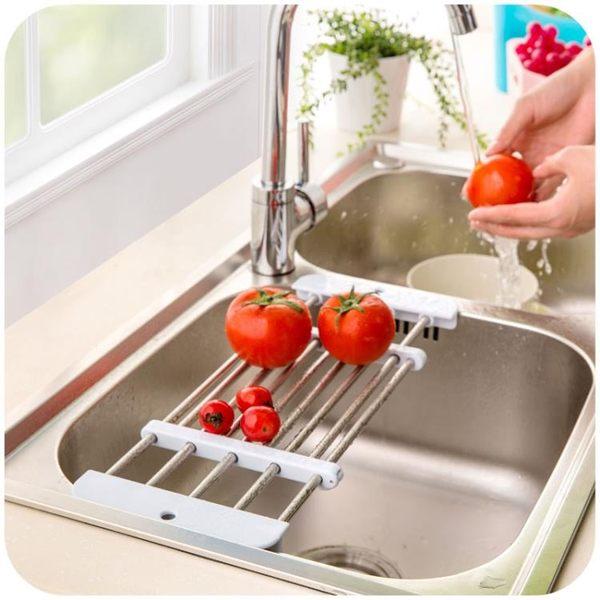 [超豐國際]創意廚房用品不銹鋼水槽瀝水架水池儲物架可伸縮餐具置物架