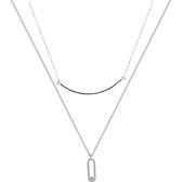 925純銀項鍊+鋯石吊墜-雙層鍊條簡約小眾女飾品74aq49【巴黎精品】