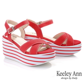 Keeley Ann極簡魅力 交叉帶線條輕量松糕鞋(紅色) -Ann系列